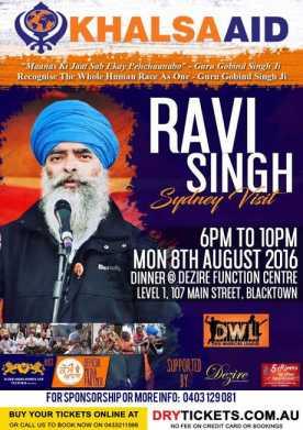 Ravi Singh In Sydney - Khalsa Aid Fundraising Dinner