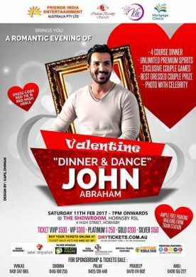 Valentine Dinner & Dance With John Abraham In Sydney
