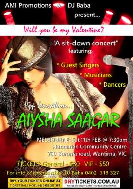 Pop Sensation Aiysha Saagar In Melbourne