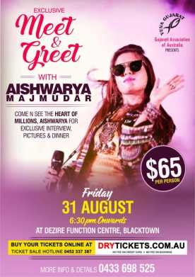 Exclusive Meet & Greet With Aishwarya Majmudar In Sydney