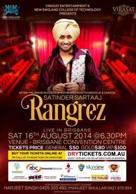 Rangrez Satinder Sartaaj Brisbane