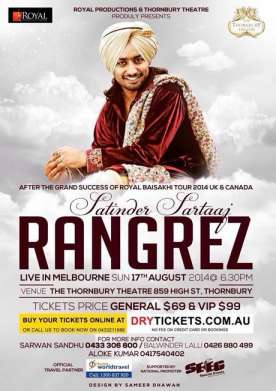 Rangrez Satinder Sartaaj Melbourne