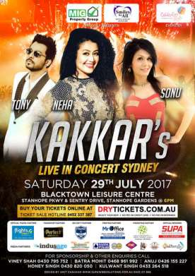 Neha Sonu Tony Kakkar Live In Concert Sydney