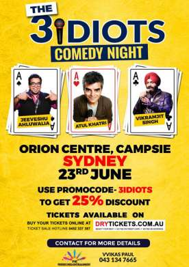 The 3 Idiots Comedy Night In Sydney