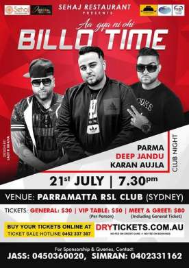 Aa Gya Ni Ohi Billo Time in Sydney