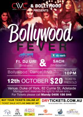 Bollywood Fever Ft. Dj Uri & Dj Sach In Adelaide