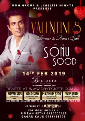 VALENTINES - Dinner & Dance Ball with Sonu Sood In Melbourne