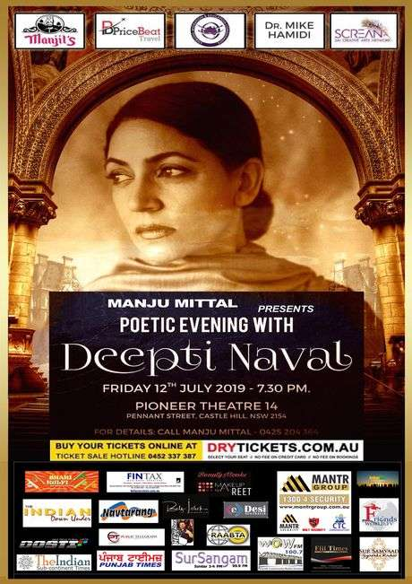 Poetic Evening with Deepti Naval In Sydney