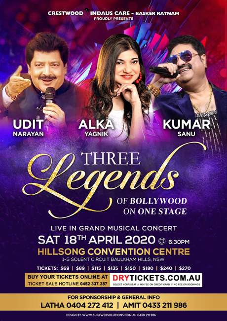 Three Legends of Bollywood Live In Sydney 2020