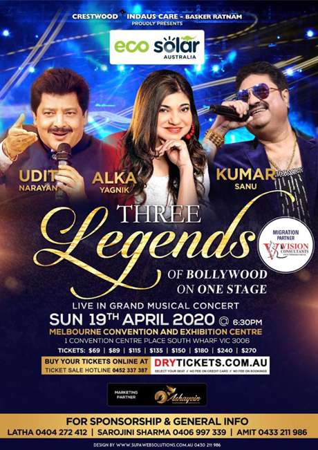 Three Legends of Bollywood Live In Melbourne 2020