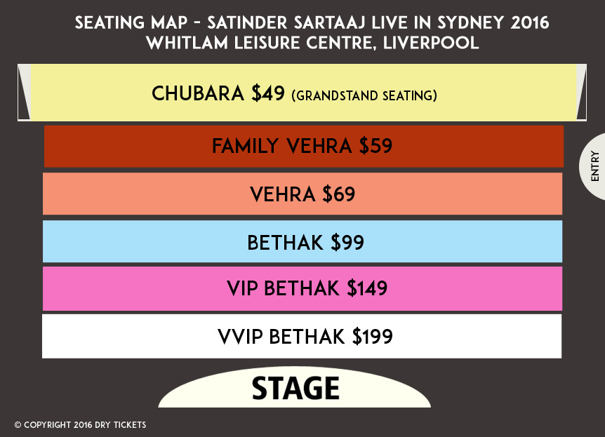 Satinder Sartaaj Live In Sydney 2016 Seating Map