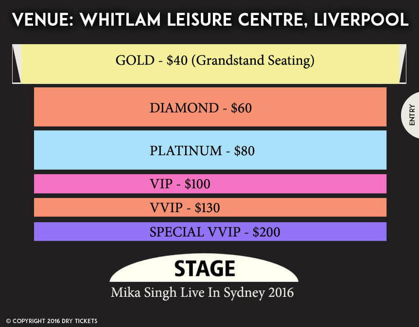 Mika Singh Live In Sydney 2016 Seating Map