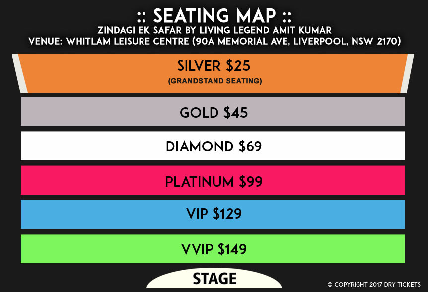 Zindagi Ek Safar by Living Legend Amit Kumar Seating Map