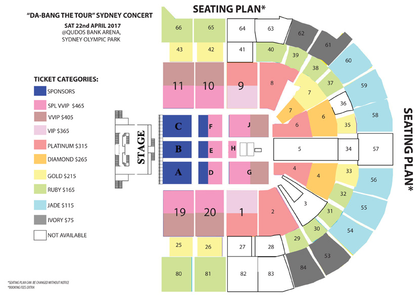 DA-BANG THE TOUR - SYDNEY Seating Map
