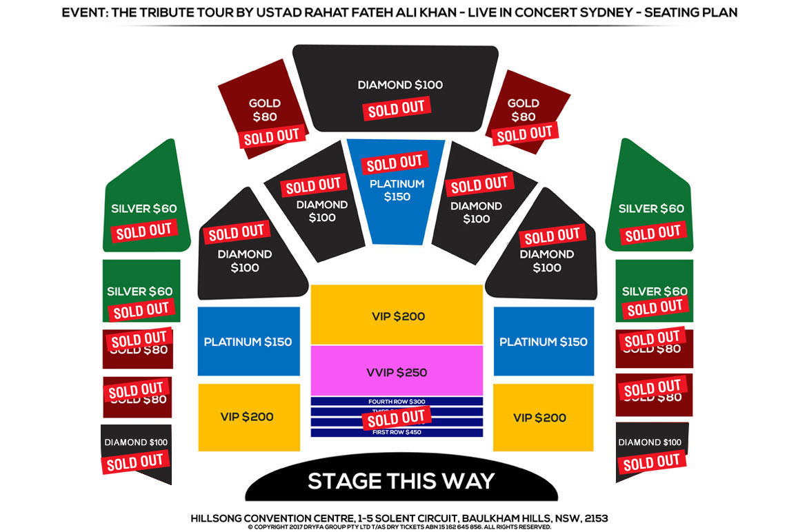 The Tribute Tour by Ustad Rahat Fateh Ali Khan In Sydney 2017 Seating Map