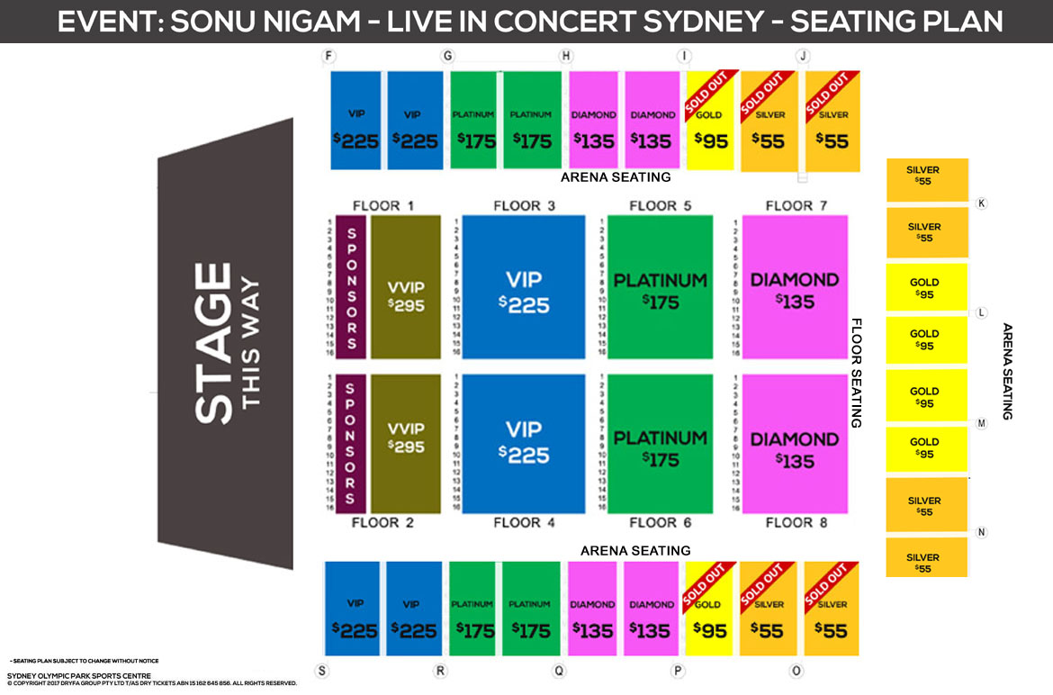 Sonu Nigam Live In Sydney 2017 Seating Map