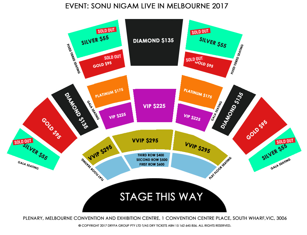 Sonu Nigam Live In Melbourne 2017 Seating Map