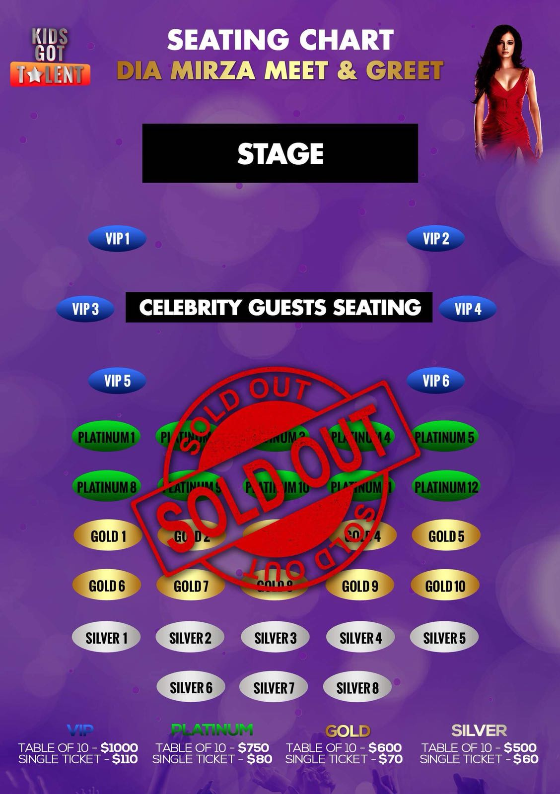 Kids Got Talent and Meet & Greet Dia Mirza In Melbourne Seating Map
