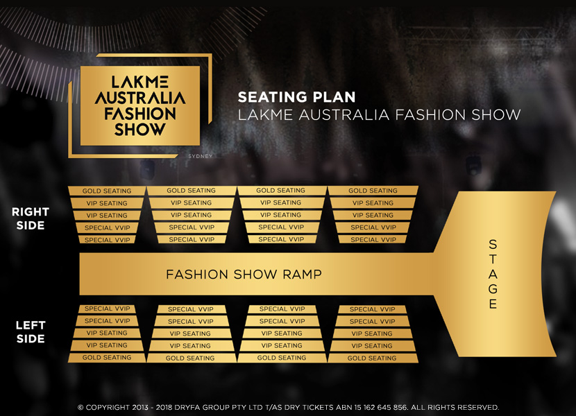 Lakme Australia Fashion Show Sydney 2018 Seating Map