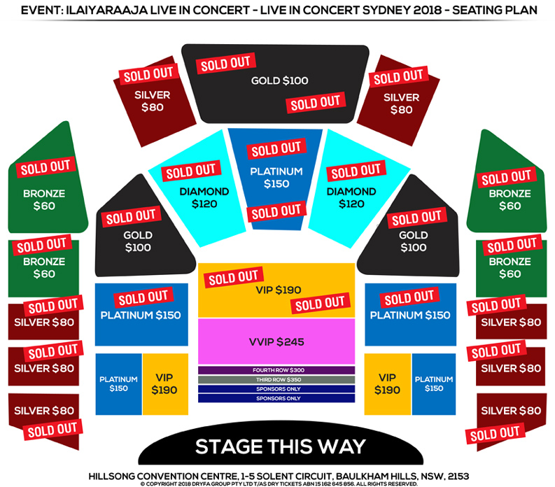 Ilaiyaraaja Live In Concert Sydney 2018 Seating Map