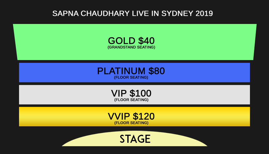 Sapna Chaudhary Live In Sydney 2019 Seating Map