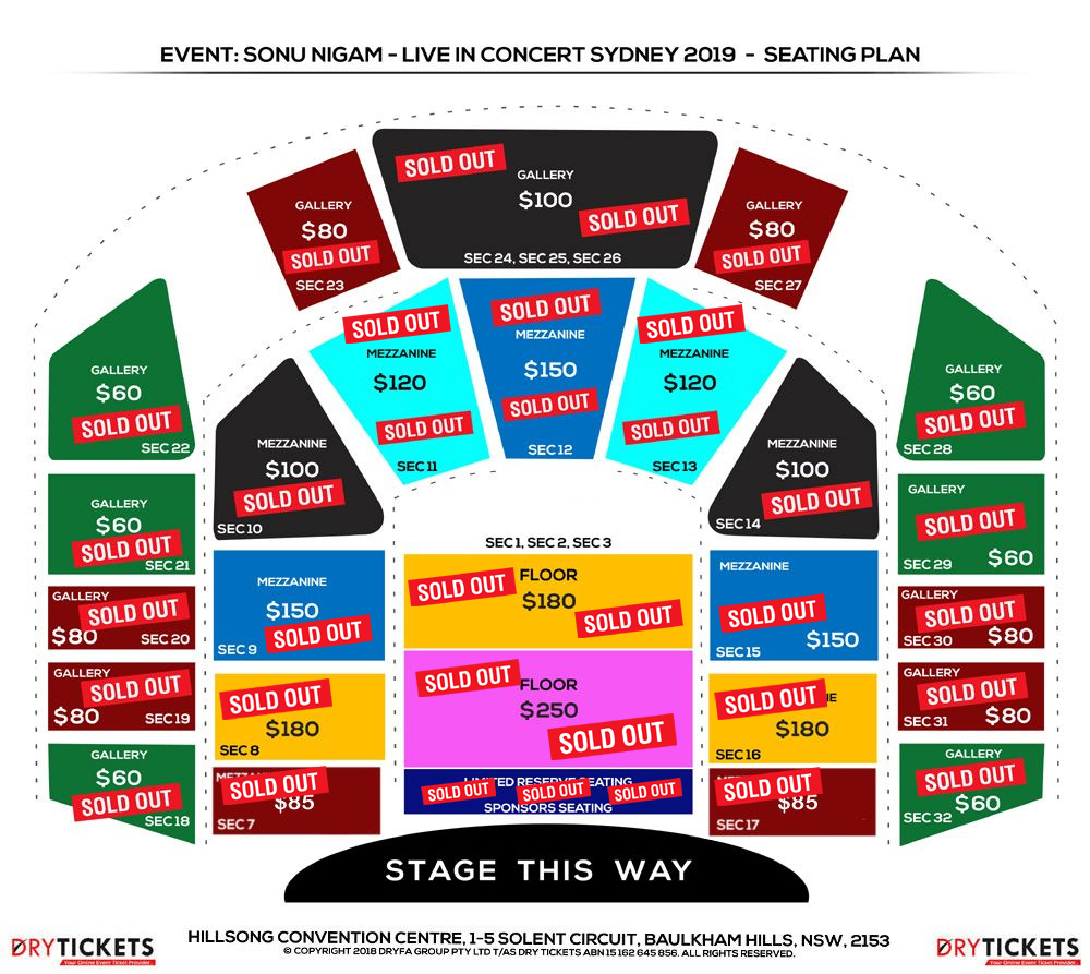 Sonu Nigam Live In Concert Sydney with Full Band 2019 Seating Map
