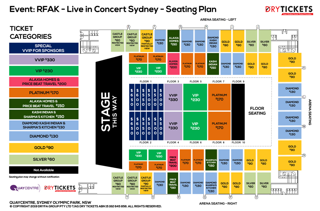 Me, Myself & I - Ustad Rahat Fateh Ali Khan Live In Sydney Seating Map