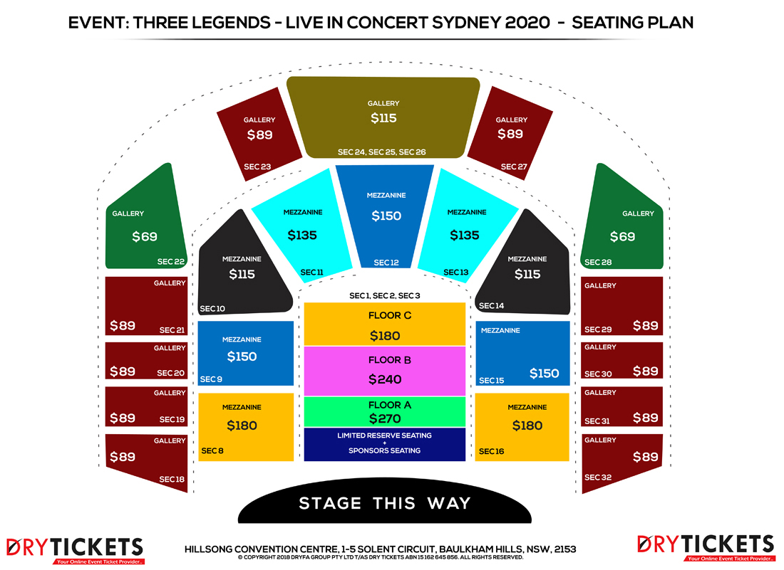 Three Legends of Bollywood Live In Sydney 2020 Seating Map