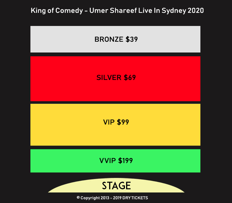 The King of Comedy - Umer Sharif Live In Sydney 2020 Seating Map